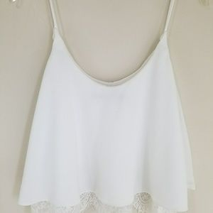 Zara White Cropped Tank with Lace Detail